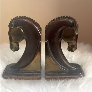 1930s Vtg. Art Deco Bronze Trojan Horse Bookends
